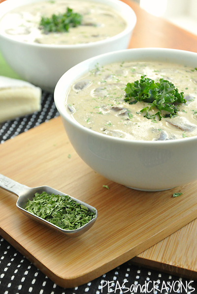 Creamy Mushroom Brie White Bean Soup is a delicious way to warm up on a cold day!