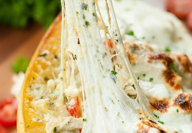 Pesto Chicken Lasagna Stuffed Spaghetti Squash