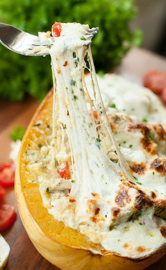 Pesto Chicken Lasagna Stuffed Spaghetti Squash