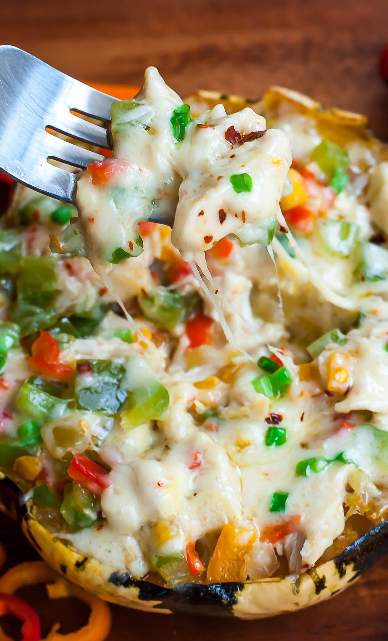 Cheesy Chicken Enchilada Stuffed Squash