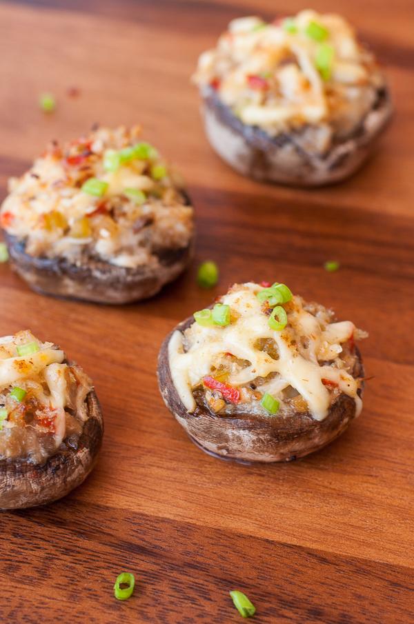 Seafood Stuffed Mushrooms with Garlic and Gouda