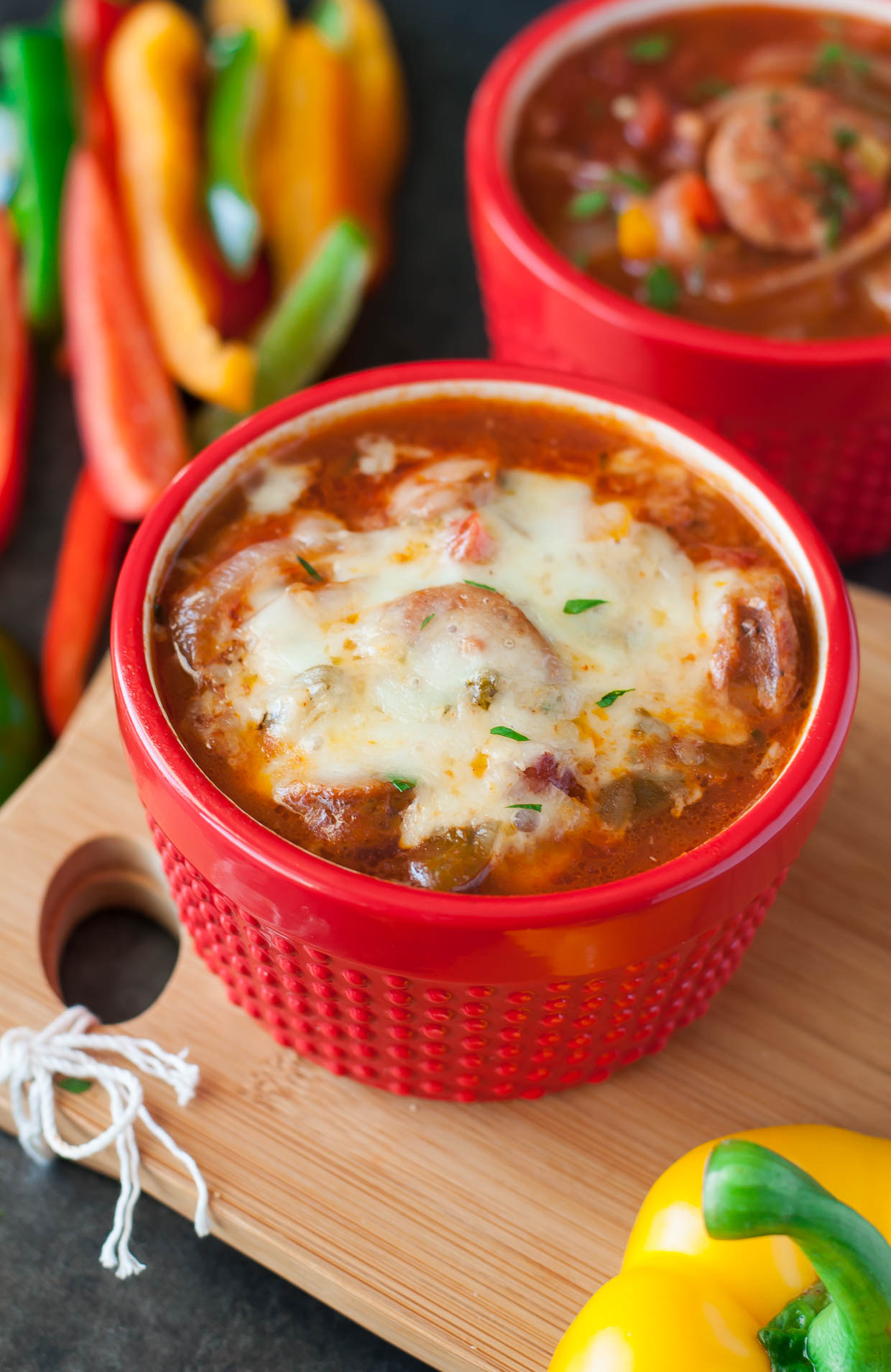 Sausage, Pepper, and Onion Soup :: Everything you love about the classic dish remixed into a positively DELICIOUS soup!