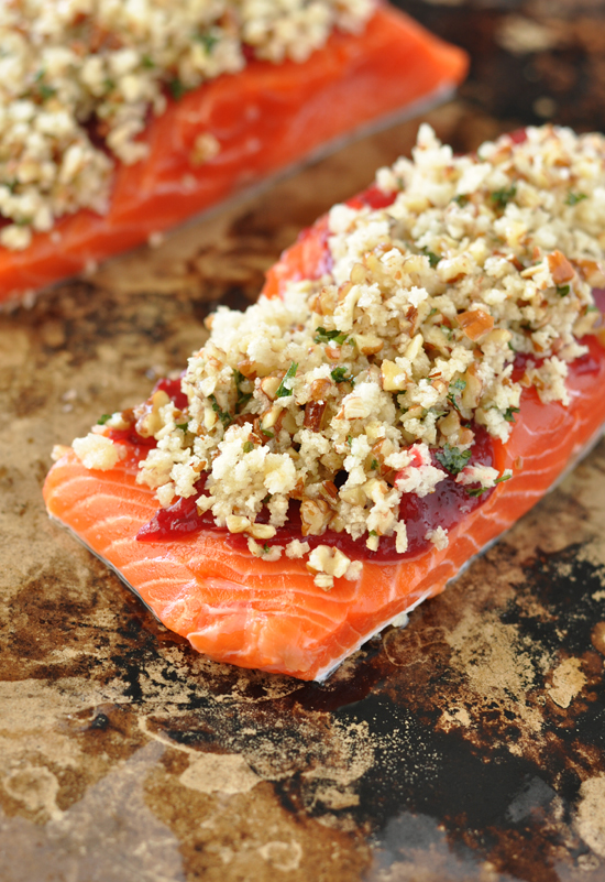 Cranberry Pecan Crusted Salmon