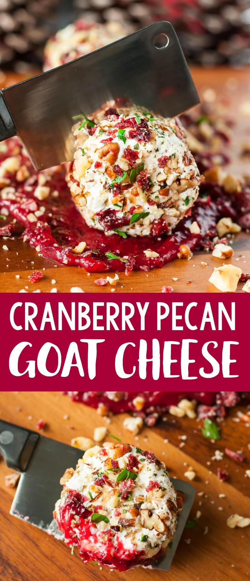 This Cranberry Goat Cheese Log with Walnuts, Pecans, and Parsley is a festive holiday appetizer is sure to please a crowd. It's quick, easy, and delicious! #appetizer #partyfood #cranberry #cranberries #goatcheese #pecan #walnut #holidayrecipes #thanksgiving #christmas