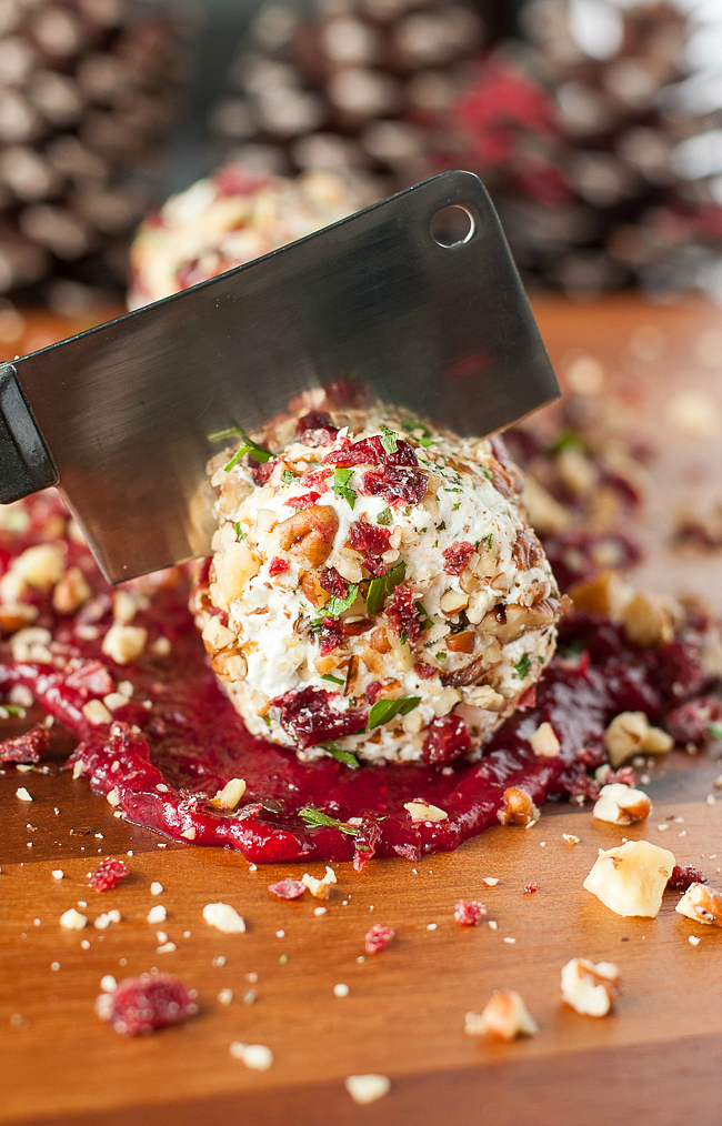 Cranberry Goat Cheese Log with Walnuts, Pecans, and Parsley