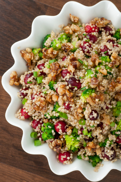 Cranberry Quinoa Salad with Candied Walnuts :: everyone in my family is obsessed with this recipe!