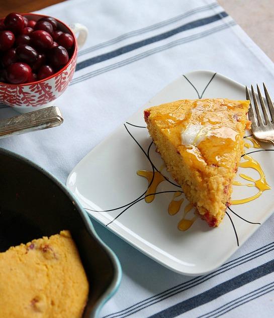 Cranberry Pumpkin Cornbread Skillet by @stephiecooks
