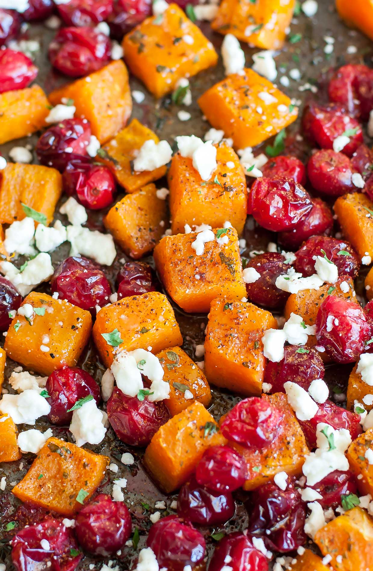 Honey Roasted Butternut Squash with Cranberries and Feta One Pan Sheet Pan Recipe