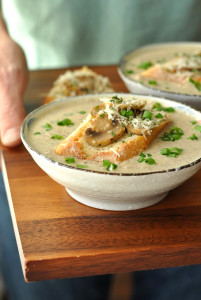 Creamy Mushroom Brie Soup with Garlicky Mushroom Bruschetta