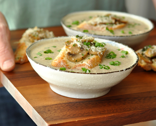 Creamy Mushroom Brie Soup with Mushroom Parmesan Toasts