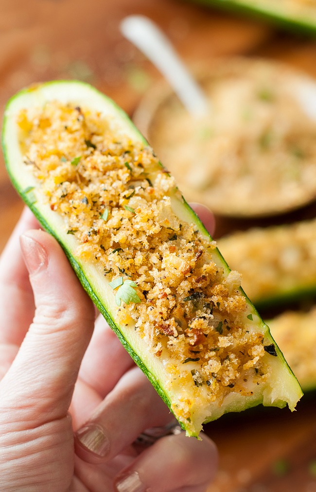 Cheesy Baked Zucchini Boats with Chipotle Panko