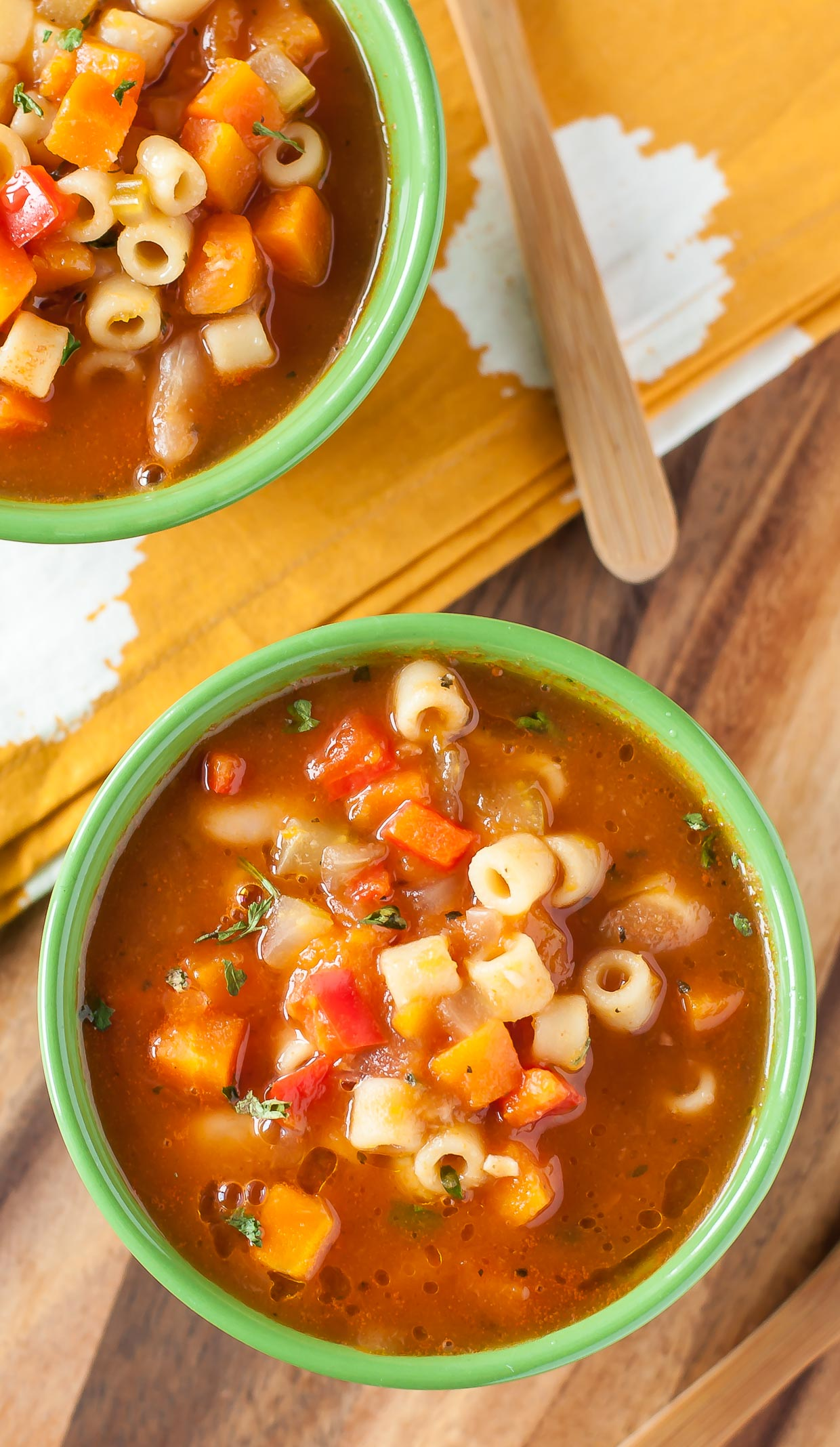 This homemade vegetarian minestrone soup is vegetarian comfort food at it's best!