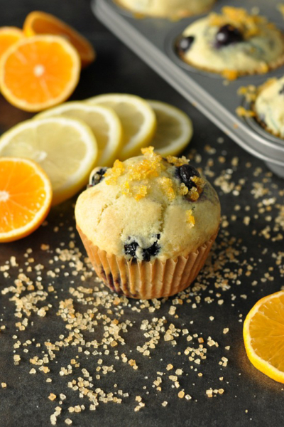 Citrus-Topped Bakery-Style Blueberry Muffins