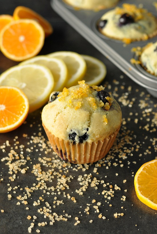Citrus Sugar Topped Bakery-Style Blueberry Muffins :: LOVE these fluffy muffins!