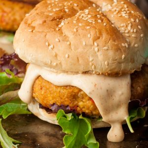 Cajun Chickpea and Sweet Potato Veggie Burgers with Cajun Aioli