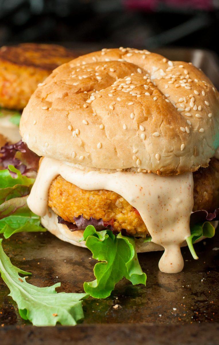 Cajun Chickpea Sweet Potato Veggie Burgers Peas And Crayons