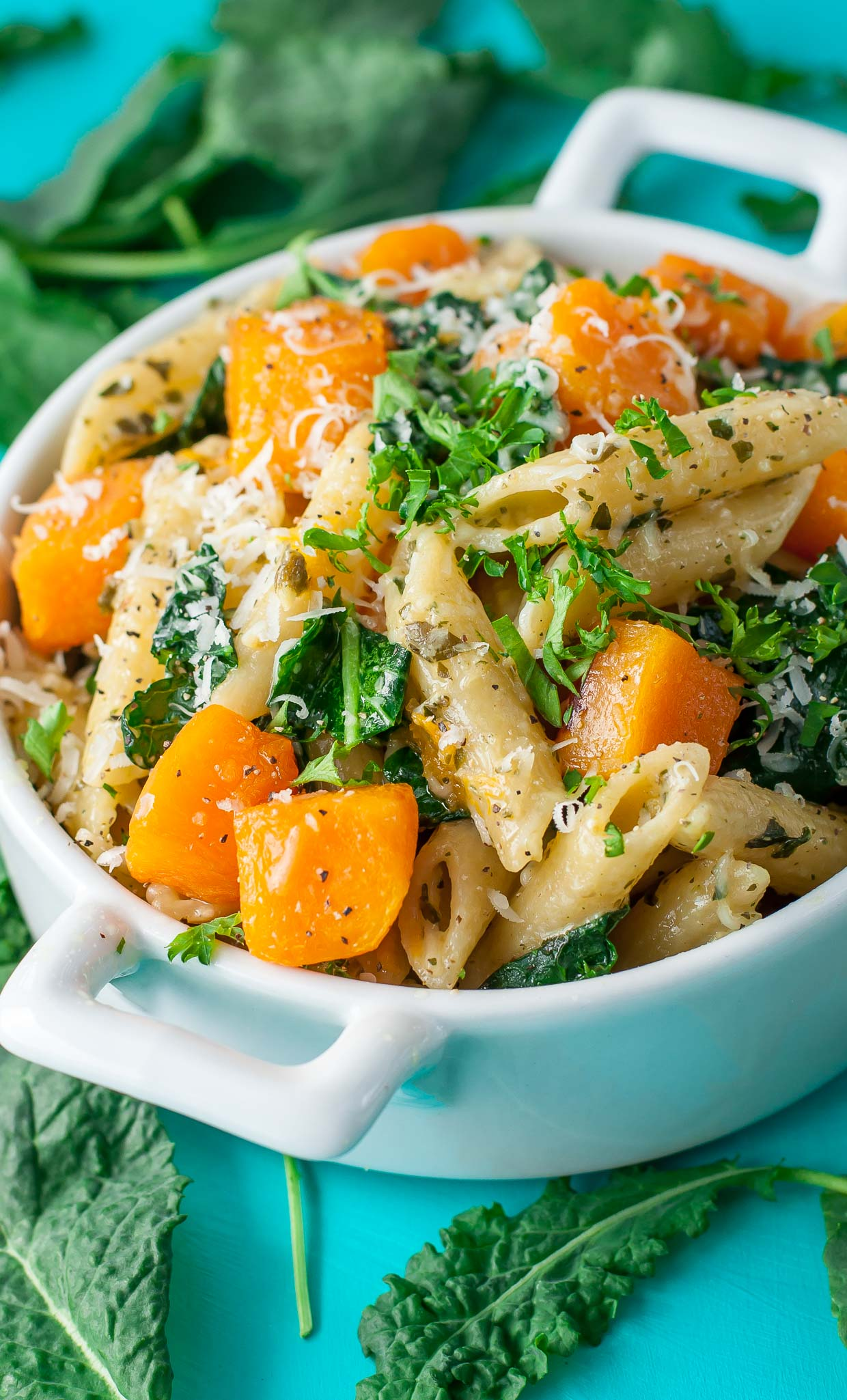 Pesto Pasta with Roasted Butternut Squash and Kale Recipe