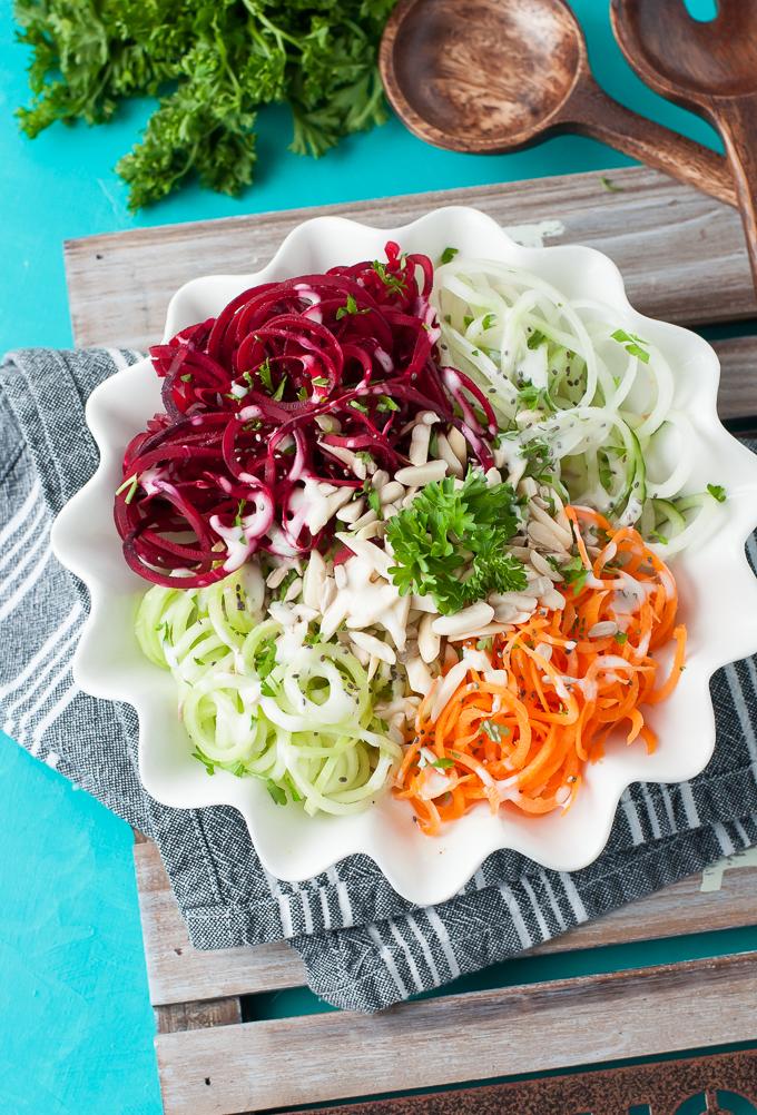 Spiralized Veggie Salad: Eat the Rainbow!