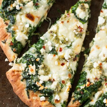 Three Cheese Pesto Spinach Flatbread Pizza for One