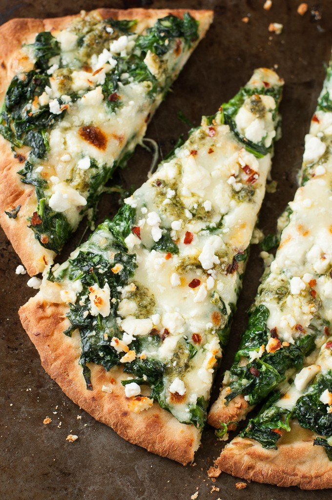 Three Cheese Pesto Spinach Flatbread Pizza for One