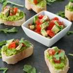 Pea Puree Crostini with Tomato and Avocado