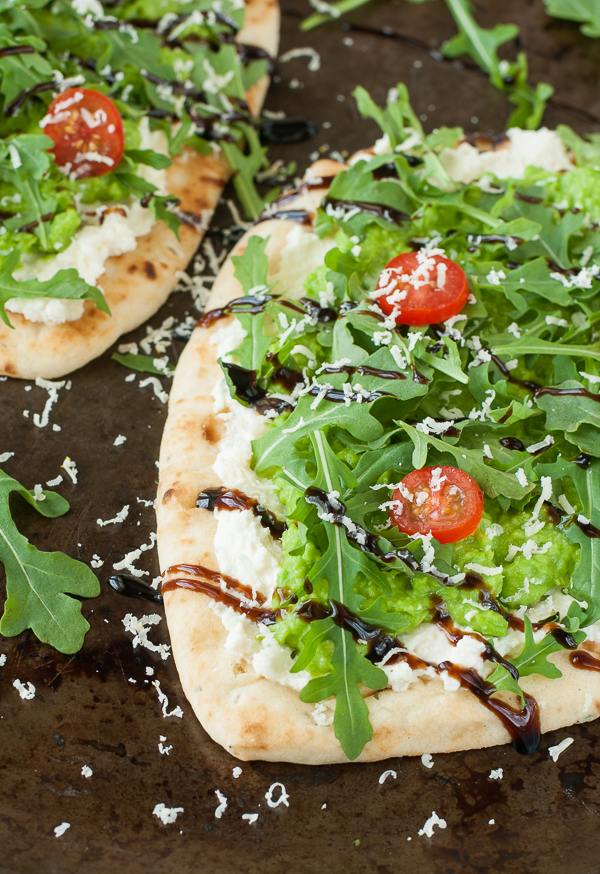 Pea-zza! Toasted Flatbreads Topped with Lemony Ricotta and Garlicky Pea Puree