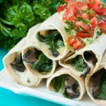 Baked Spinach and Portobello Flautas