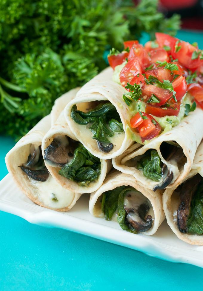 Baked Spinach and Portobello Flautas