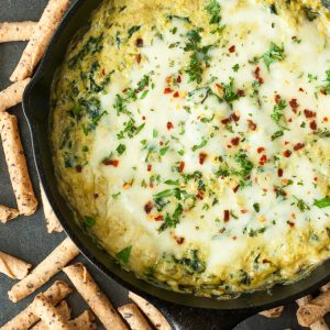 Easy Cheesy Asparagus Spinach Dip