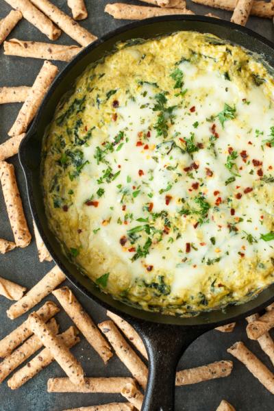 Easy Cheesy Asparagus Spinach Dip