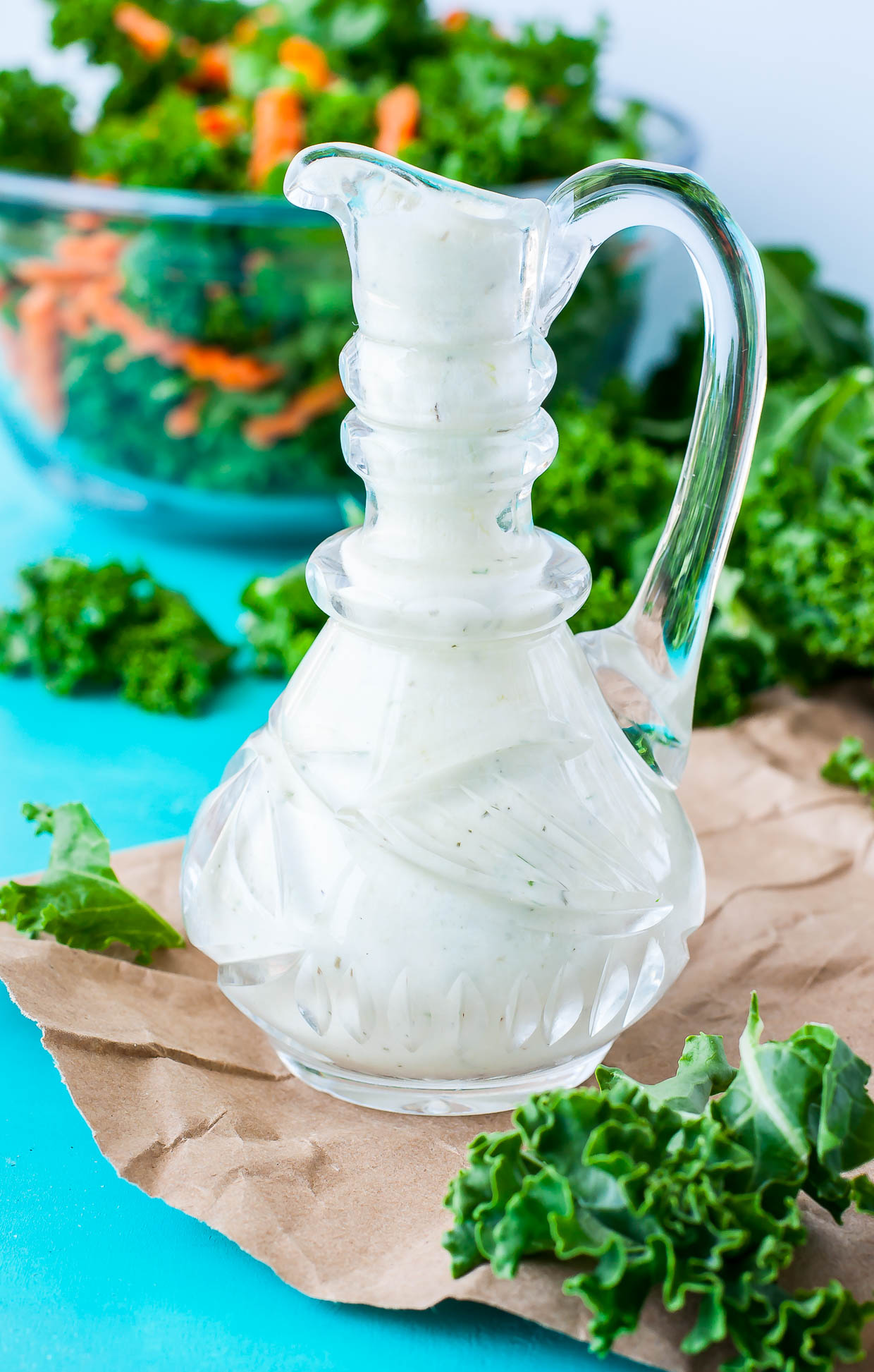 This Creamy Greek Yogurt Feta Dressing is ready to rock your veggies! Uber easy and ready in just 6 minutes, you'll want to pour this dressing on everything from salads to sandwiches.
