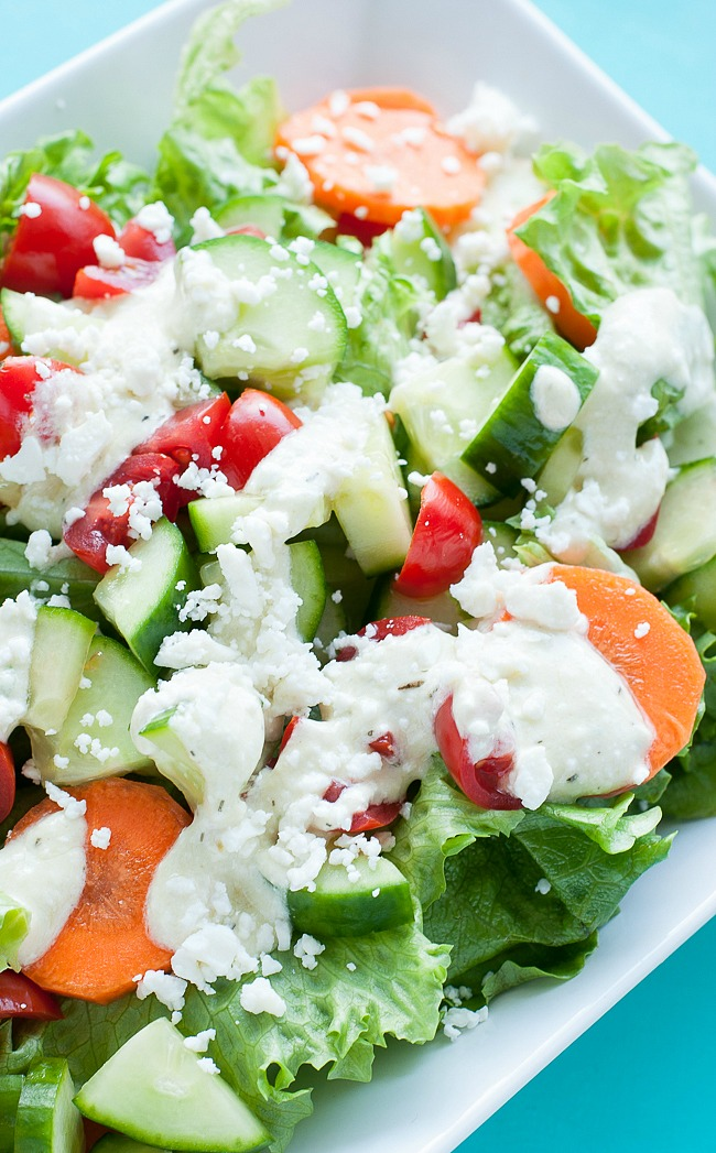 Fresh Veggie Salad with Homemade Creamy Feta Dressing :: deeeeelish!