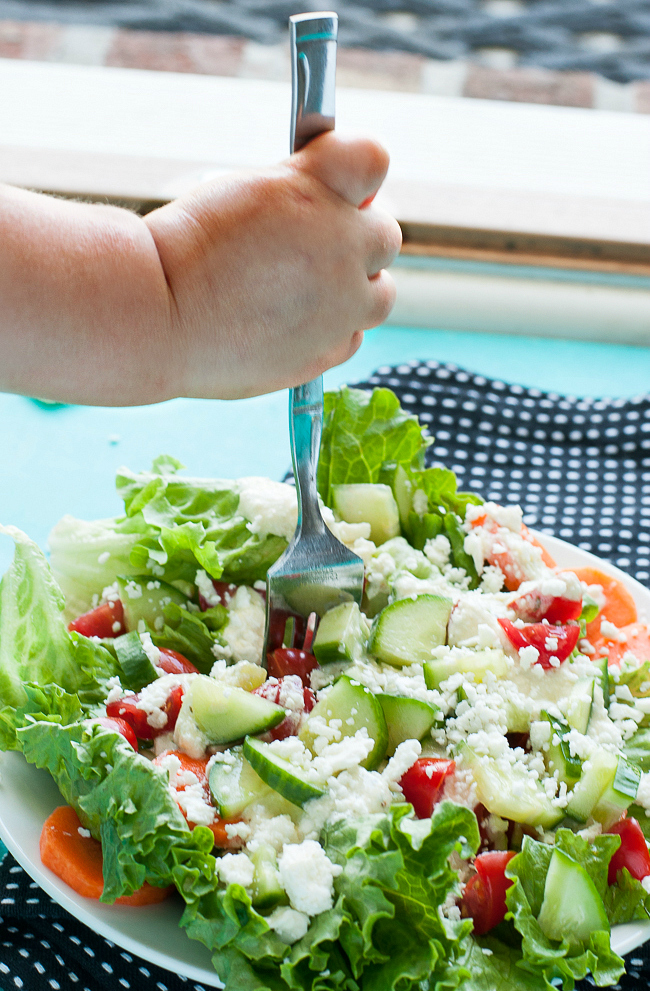 Veggie Salad with Homemade Creamy Feta Dressing :: YUM!