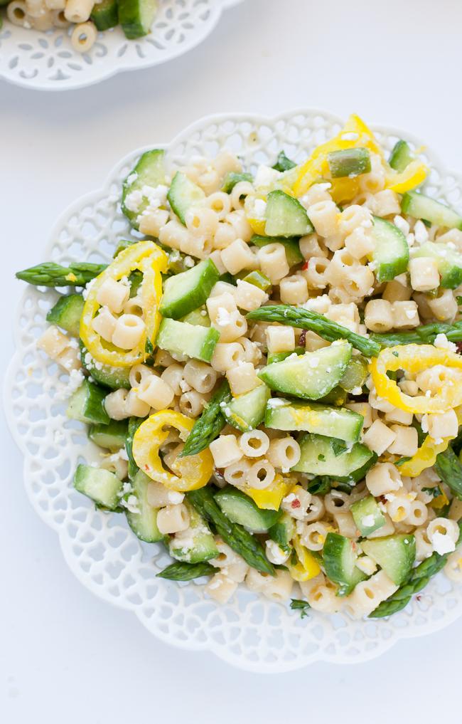 Lemon Asparagus Pasta Salad With Banana Peppers And Feta
