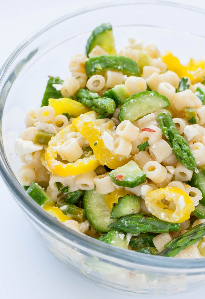 Lemon Asparagus Pasta Salad with Cucumber and Feta - a tasty twist on the classic pasta salad!