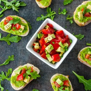 Spring Pea Bruschetta with Tomato and Avocado