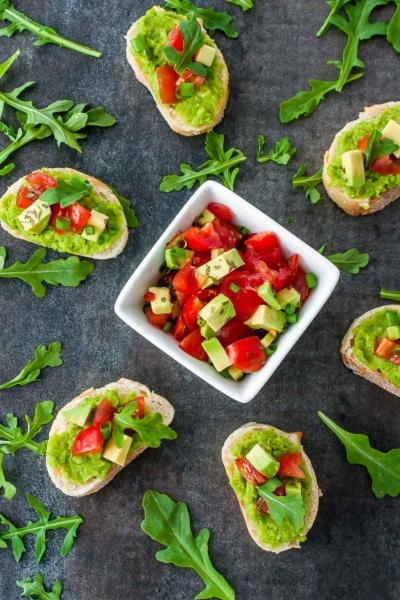 Spring Pea Bruschetta with Tomato and Avocado