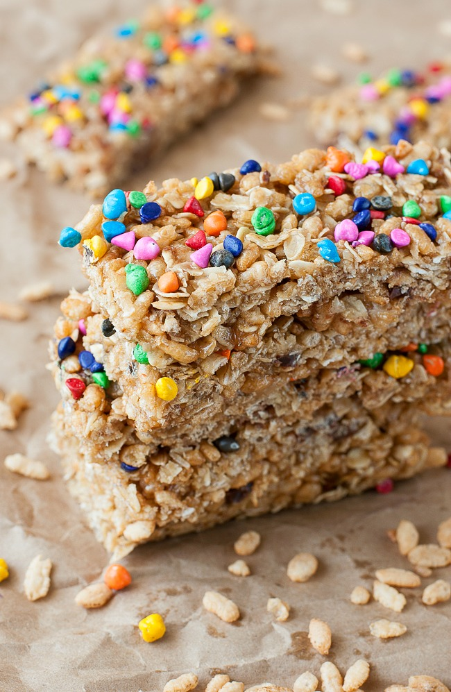 No-Bake Chewy Rainbow Chip Granola Bars