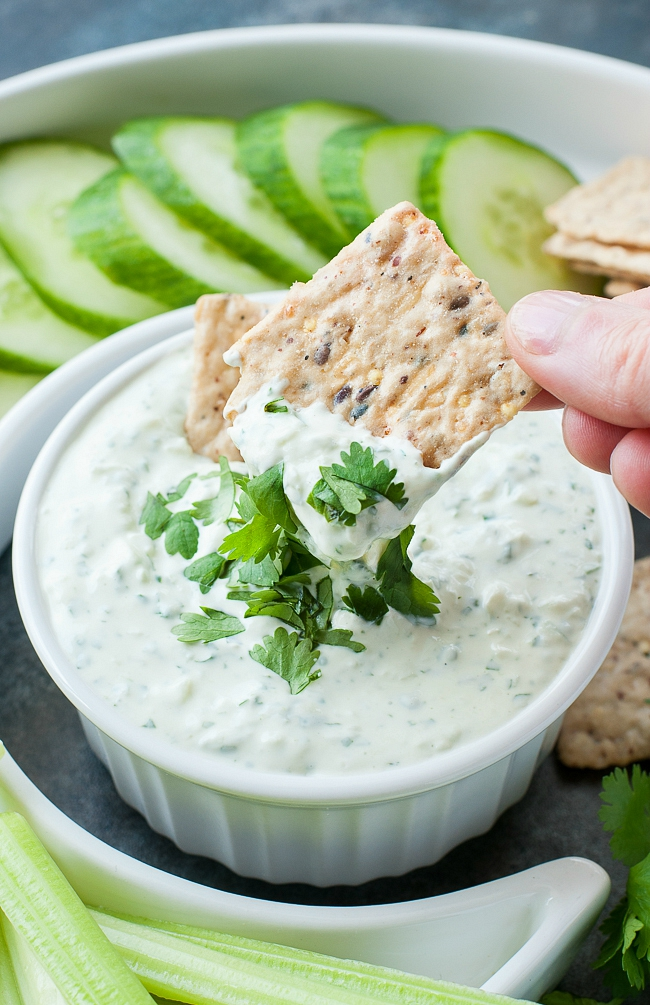 Creamy Cilantro Cucumber Dip :: mayo-free and SO GOOD!