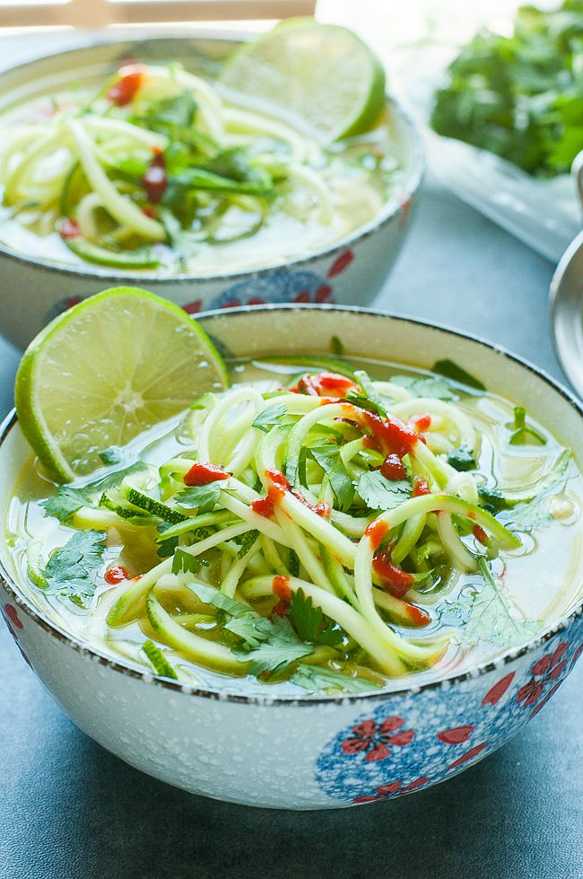Spicy Sriracha Lime Chicken Zoodle Soup :: this one-pot soup can be made with a spiralizer or a veggie peeler and is ready in 15 minutes!