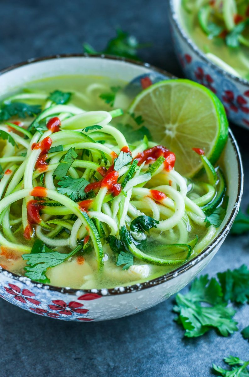 Spicy Sriracha Lime Chicken Zoodle Soup - One pot and 15 minutes are all you need to make this delicious dish!