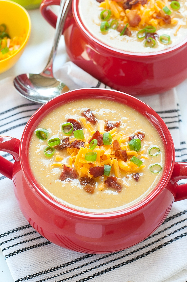 Sweet Potato Cauliflower Soup ...in the crock-pot! This slow cooker soup recipe is a hit with family and friends!