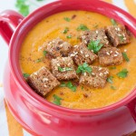 Easy Roasted Carrot and Sweet Potato Soup with Garlic Bread Croutons