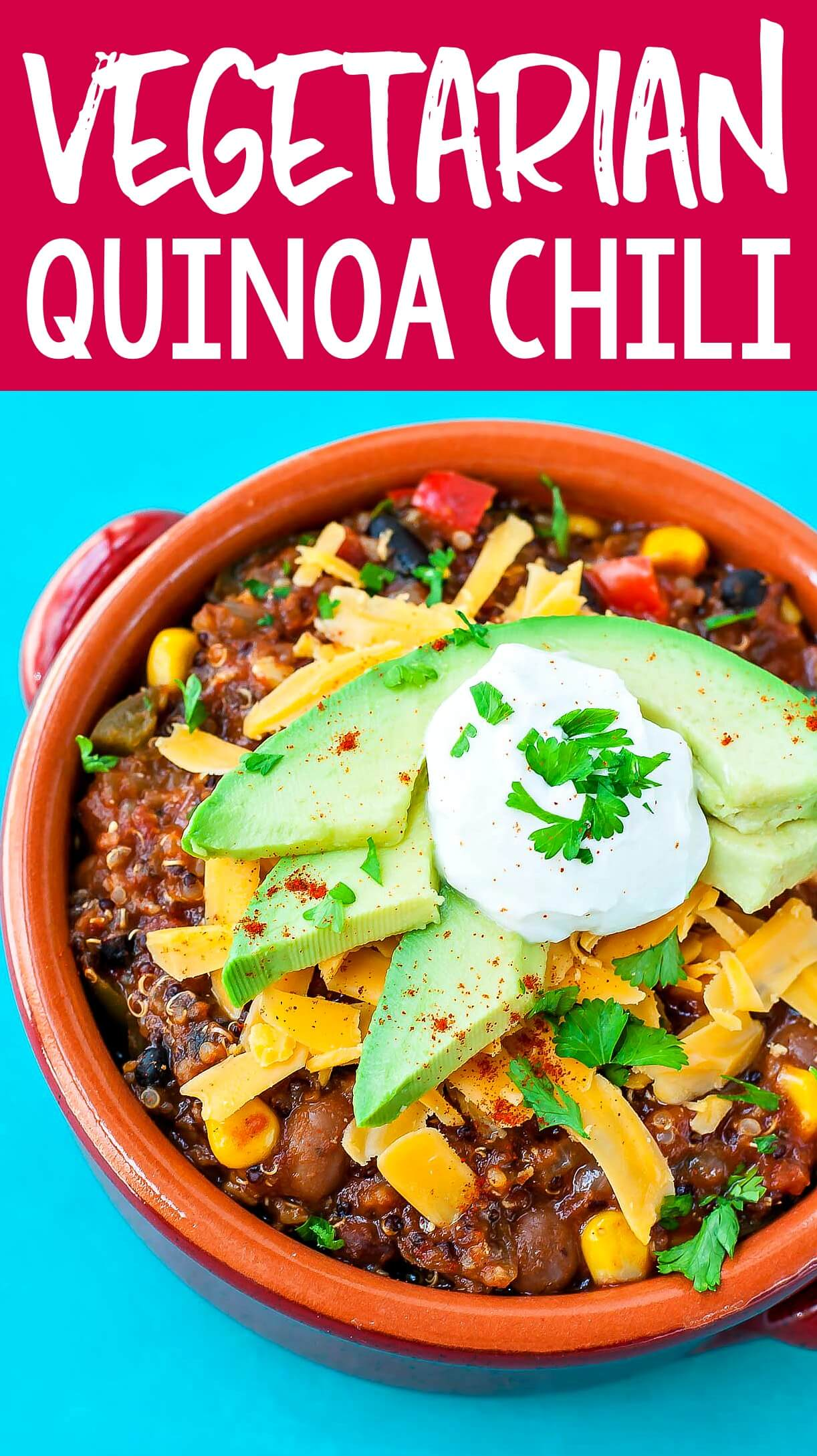 This is the chili that changed our minds about meatless chili! We absolutely LOVE this healthy vegetarian quinoa chili!
