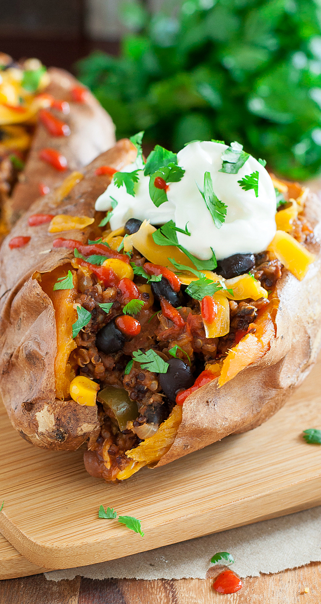 Chili Stuffed Sweet Potatoes :: this speedy spud is the perfect use for leftover chili!