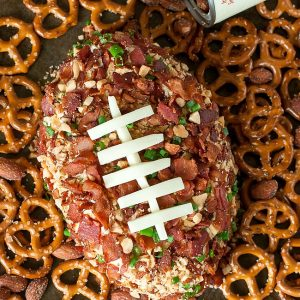 This super easy Bacon Cheddar Football Cheese Ball will be a total touchdown at your next party!