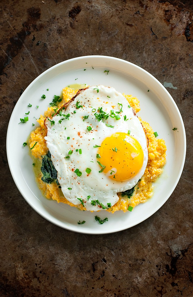 Breakfast Bowls with Pumpkin Cheddar Grits