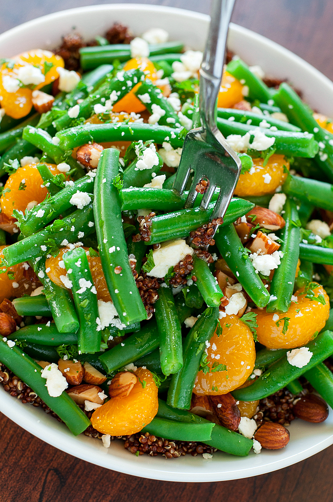 This healthy Green Bean Quinoa Salad is topped with a delicious homemade Maple Citrus Dressing! GF + Vegetarian