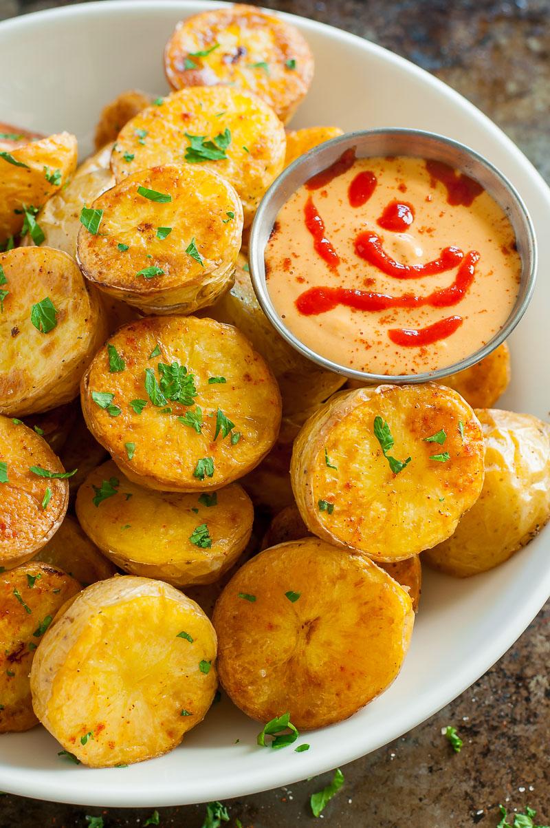 Easy Oven Roasted Potatoes with Sriracha Pumpkin Aioli