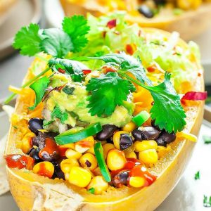 These fully-loaded Spaghetti Squash Burrito Bowls are healthy and delicious!